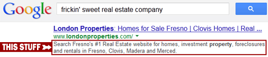 'Meta Description' is the block of text that appears below your site on search results. The search engine will cut it off after so many characters, so it's best to keep it short, focus on the most important information, and include key search terms you want people to use to find you.